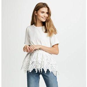 Endless Rose peplum lace white tee